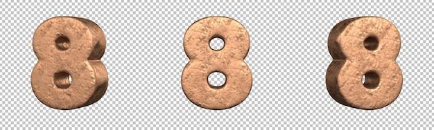 Номер 8 (восьмерка) из набора медные числа. изолированный. 3d-рендеринг