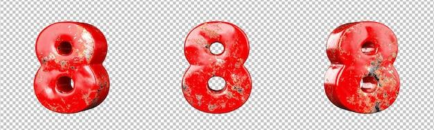 Номер 8 (восьмерка) из набора для сбора красных металлических цифр с царапинами. изолированный. 3d-рендеринг