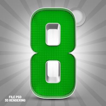 Number 8 green 3d rendering