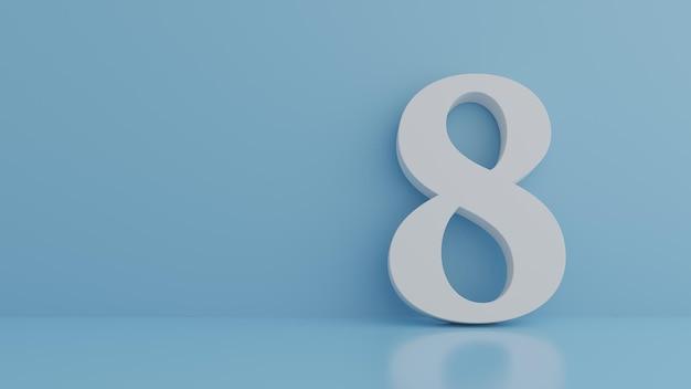 Number 8 on pastel 3d rendering