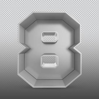Номер 8 серебряный 3d-рендеринг