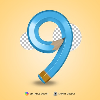 유연한 연필 색상의 숫자 8 텍스트 스타일 격리 된 3d 렌더링