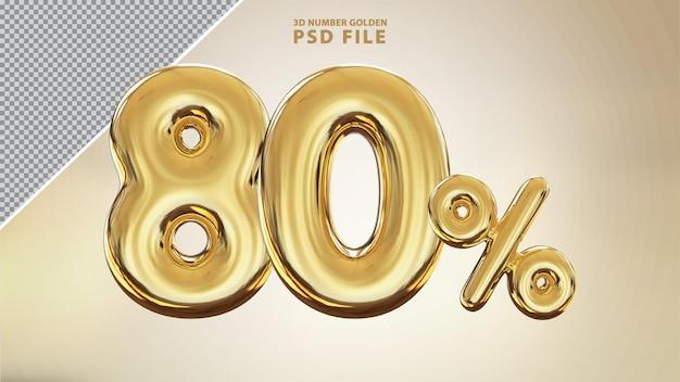 Номер 80 процентов 3d визуализации золотой роскоши