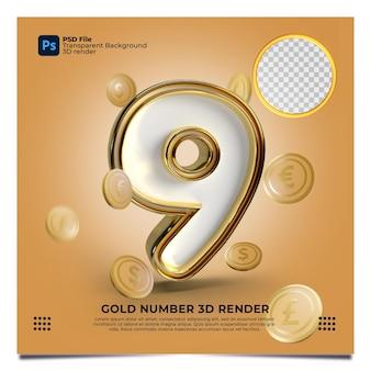 Номер 9 3d визуализации в золотом стиле с элементом