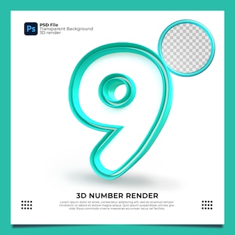 Номер 9 3d render зеленый цвет с элементами