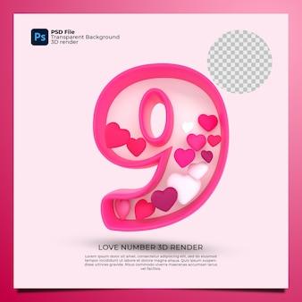 Номер 9 3d визуализация розового цвета со значком любви