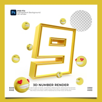 Номер 9 3d render желтого цвета с элементами