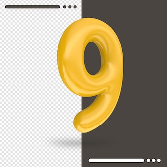 Number 9 3d rendering isolated