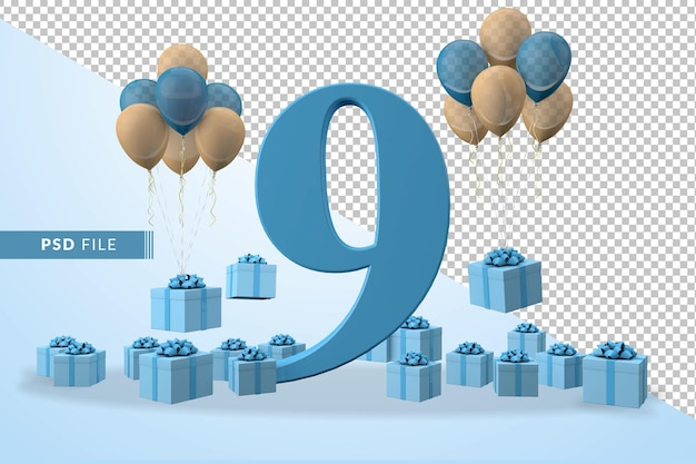 Number 9 birthday celebration blue gift box yellow and blue balloons