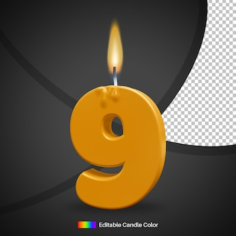 Number 9 burning birthday candle with flame