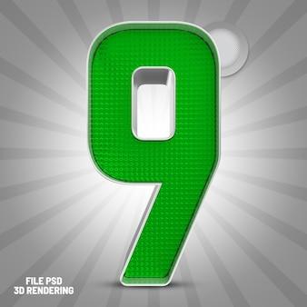 Number 9 green 3d rendering