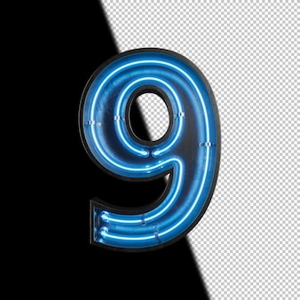 Number 9 made from neon light