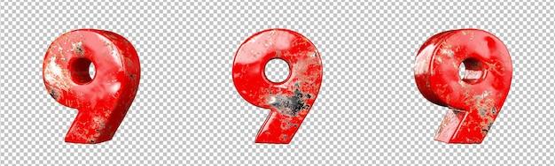 レッドスクラッチメタリックナンバーコレクションセットのナンバー9(ナイン)。孤立。 3dレンダリング