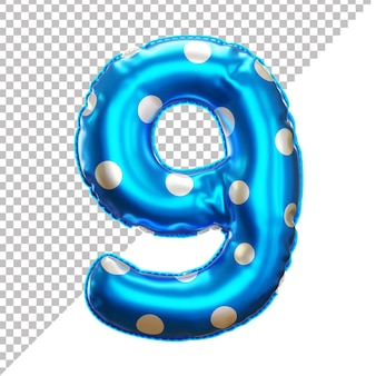 Number 9 polka dot party foil balloon in 3d style