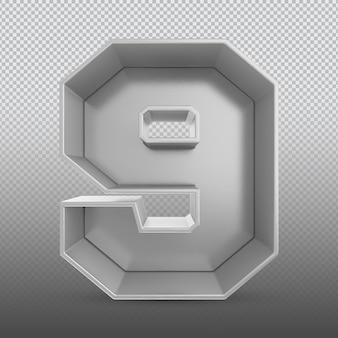 Номер 9 серебряный 3d-рендеринг