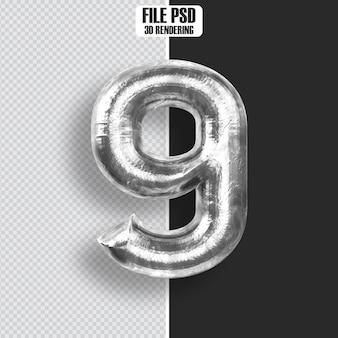 Number 9 steel 3d rendering