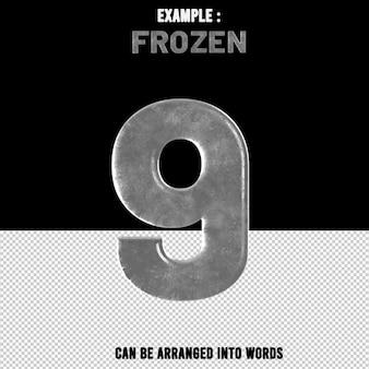 숫자 9 텍스트 효과 얼음