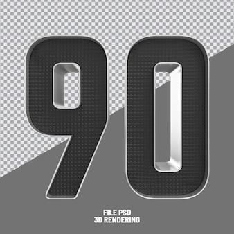 Number 90 black 3d rendering