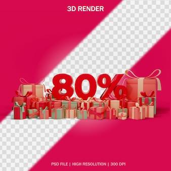 3dデザインのギフトと透明な背景の周りの数割引の概念