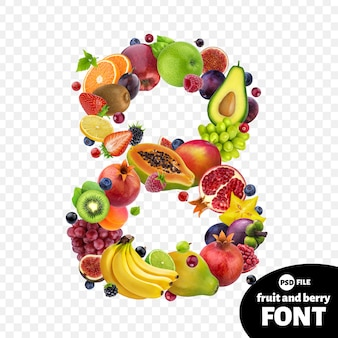 Number eight made with fruits