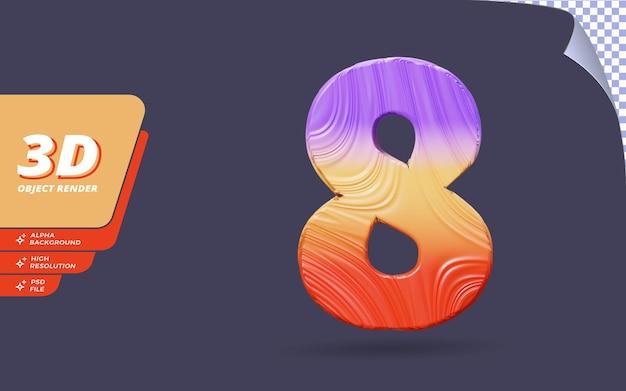 Номер восемь, номер 8 в 3d визуализации, изолированные с абстрактным топографическим градиентом текстуры дизайн иллюстрации
