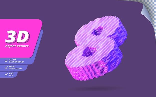 Номер восемь, номер 8 в 3d визуализации, изолированные с абстрактным топографическим фиолетовым проводом текстуры дизайн иллюстрации