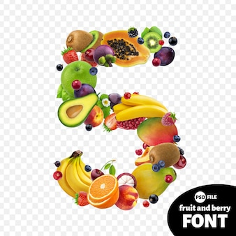 Number five made with fruits