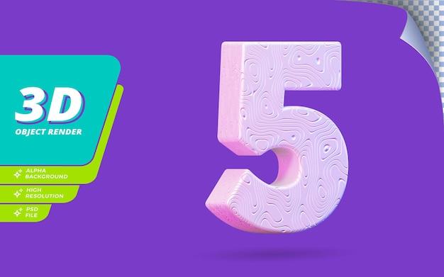 Номер пять, номер 5 в 3d визуализации изолирован с абстрактной топографической белой волнистой текстурой дизайна иллюстрации