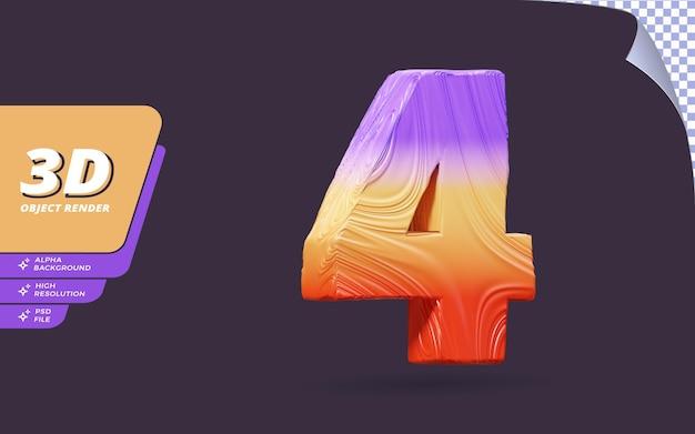 Номер четыре, номер 4 в 3d визуализации изолирован с абстрактным градиентом текстуры дизайна иллюстрации