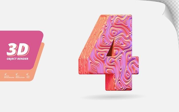 4번, 3d 렌더링의 4번 추상 지형 로즈 골드 물결 모양 질감 디자인 일러스트와 함께 격리