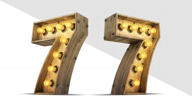 Number light bulb sign