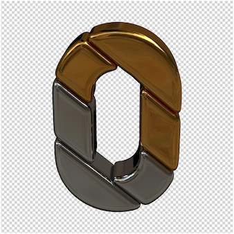 Number made of gold and silver 3d rendering