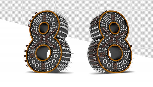 Number made of metallic gears