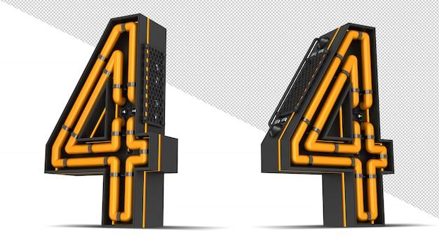 번호 네온 빛 3d 렌더링 일러스트 레이션