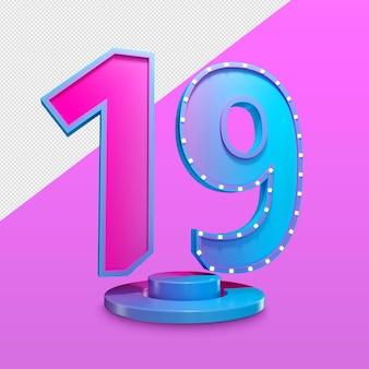Number nineteen 3d render premium psd
