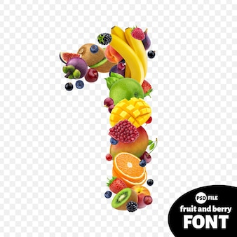 Number one made with fruits
