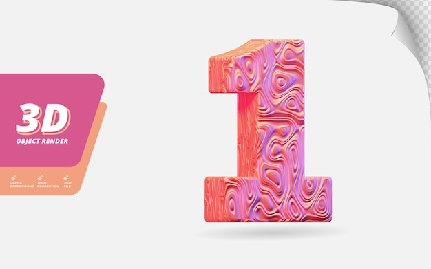 Number one, number 1 in 3d render isolated with abstract topographic rose gold wavy texture design illustration