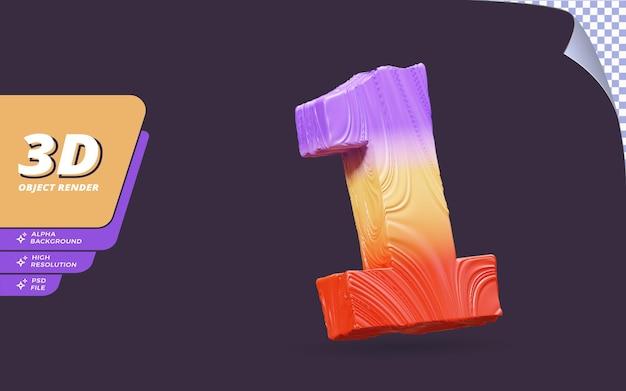 번호 하나, 추상 그라데이션 텍스처 디자인 일러스트와 함께 격리 된 3d 렌더링의 번호 1