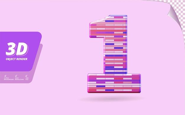번호 하나, 추상 금속 벽돌 질감 디자인 일러스트와 함께 격리된 3d 렌더링의 번호 1