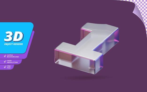 1번, 3d 렌더링의 1번 추상 금속 유리 크리스탈 질감 디자인 일러스트와 함께 격리