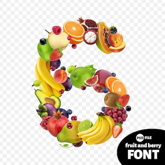Number six made with fruits