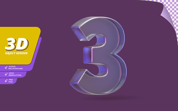 Номер три, номер 3 в 3d-рендере изолирован с абстрактным металлическим стеклом и кристаллической текстурой дизайна иллюстрации