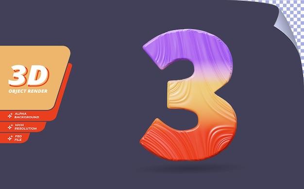 숫자 3, 3d 렌더링의 숫자 3은 추상적인 지형 그라디언트 텍스처 디자인 일러스트와 함께 격리됩니다.
