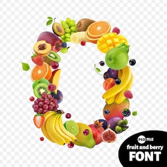 Number zero made with fruits