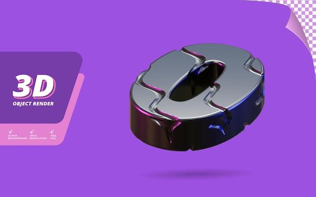 番号0、抽象的なメタリックブラックワイヤーテクスチャデザインイラストで分離された3dレンダリングの番号0