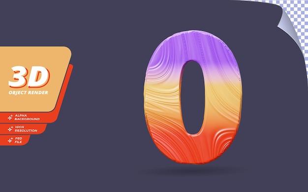 숫자 0, 추상 지형 그라디언트 텍스처 디자인 일러스트와 함께 격리된 3d 렌더링의 숫자 0
