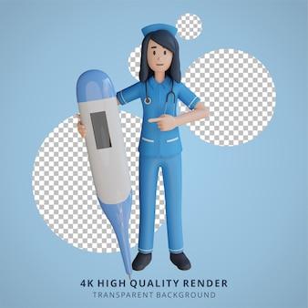 体温計3dキャラクターイラストを保持している看護師