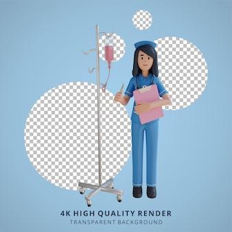 주입 극 3d 캐릭터 일러스트 근처에 서있는 간호사