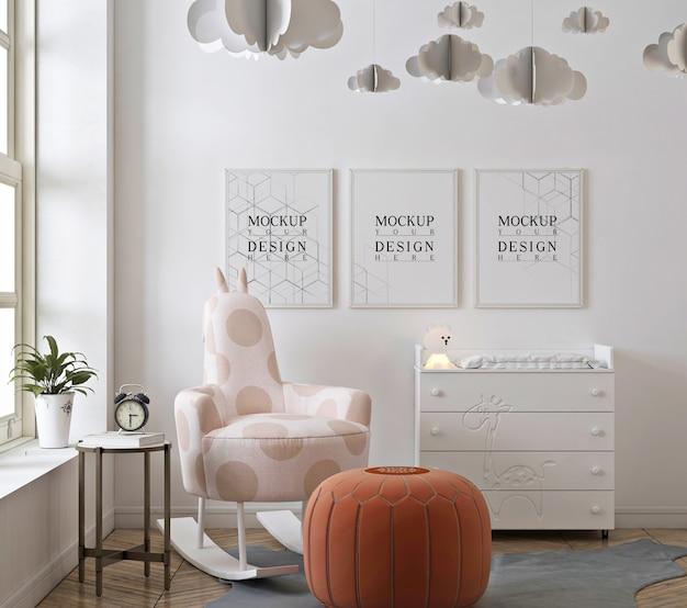 Nursery bedroom with mockup poster frame