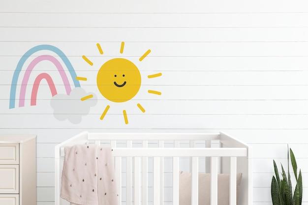 Nursery room wall mockup psd japandi interior Free Psd